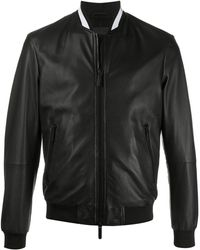 Emporio Armani Leather Bomber Jacket - Black