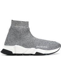 Balenciaga Speed High-top-sneakers Aus Stretch-strick Mit Logoprint In Metallic-optik - Mettallic