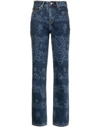 Ganni Motif-print Straight-leg Jeans - Blue