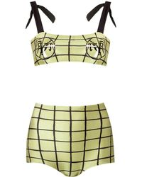 Adriana Degreas Grid print bikini set - Verde