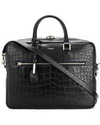 Saint Laurent - Crocodile Embossed Briefcase - Lyst