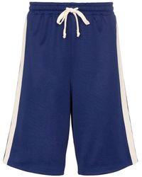 Gucci Bermuda à bandes logos - Bleu