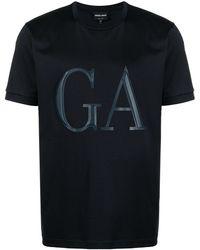 Giorgio Armani ロゴパッチ Tシャツ - ブルー
