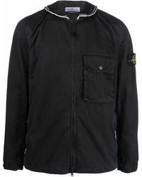 Stone Island Zip-up Hooded Jacket - Black