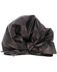 Manokhi Knotted Leather Turban - Black