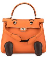 Hermès Tangerine Shiny Niloticus Lizard Leather Kelly 25cm Sellier - Orange