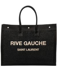 Saint Laurent Bolso shopper con logo estampado - Negro