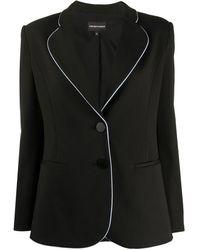 Emporio Armani テーラード シングルジャケット - ブラック