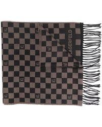Karl Lagerfeld チェッカー スカーフ - ブラウン