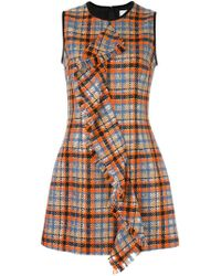 MSGM | Checked Ruffled Front Dress | Lyst