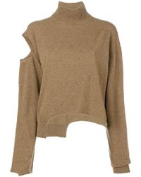 Erika Cavallini Semi Couture - Distressed Roll Neck Sweater - Lyst