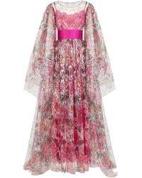 Dolce & Gabbana Camellia-print Lamé Lace Dress - Pink