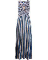M Missoni ストライプ ニットドレス - ブルー