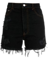 Gcds Distressed Denim Shorts - Black