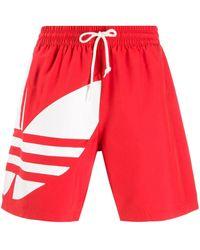 adidas Badeshorts mit Logo-Print - Rot