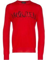 Alexander McQueen Trui Van Wol Met Dansend Skelet Logo - Rood