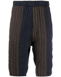Barena Colour-block Striped Linen Shorts - Brown