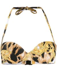 Versace Baroque Print Bikini Top - Yellow