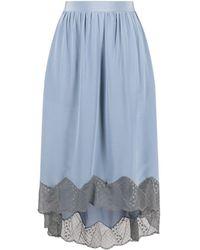 Zadig & Voltaire Lace-trim Silk Midi Skirt - Blue