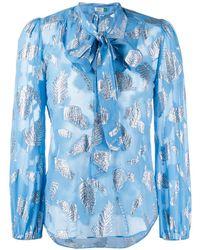 RIXO London Blusa con motivo de hojas y pajarita - Azul