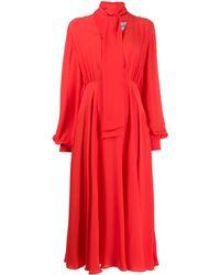 Valentino Платье Миди С V-образным Вырезом - Красный