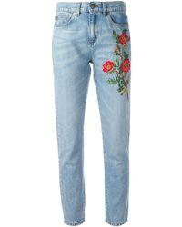 Gucci フローラル刺繍 ジーンズ - ブルー