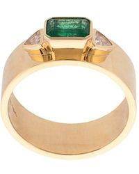 "Azlee - ""18kt Yellow Gold, Emerald And White Trilliondiamonds Ring "" - Lyst"