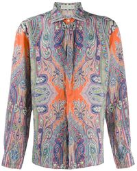 Etro Paisley-print Linen Shirt - Orange