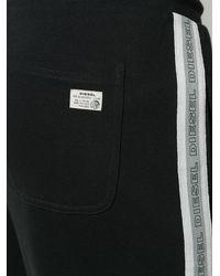 DIESEL サイドストライプ スウェットパンツ - ブラック