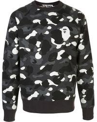 A Bathing Ape Sweat à motif camouflage et logo - Gris