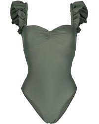 Amen Ruffle-hem Swimsuit - Green