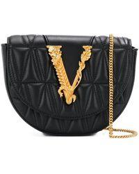 Versace Black V Quilted Leather Belt Bag