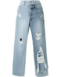 SJYP Panelled Cropped Jeans - Blue