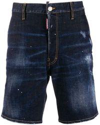 DSquared² Pantalones vaqueros cortos con detalles rasgados - Azul