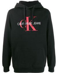 Calvin Klein Kapuzenpullover mit Logo-Stickerei - Schwarz