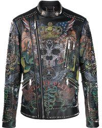 Philipp Plein Tattoo ライダースジャケット - ブラック