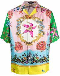 Versace Seidenhemd mit grafischem Print - Pink