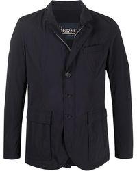 Herno Fitted Front Slit Shirt Jacket - Blue
