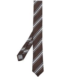 Eleventy Diagonal-stripe Tie - Brown