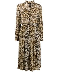 Boutique Moschino レオパード シャツドレス - ブラウン