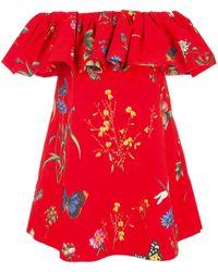 Oscar de la Renta Vestido con hombros descubiertos y estampado floral - Rojo