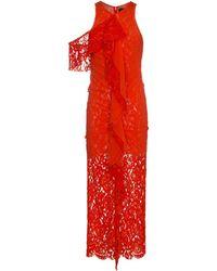 Proenza Schouler Приталенное Кружевное Платье Без Рукавов - Красный