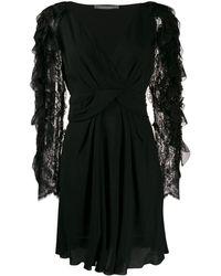 Alberta Ferretti フリルスリーブ ドレス - ブラック