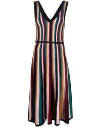 N.Peal Cashmere Lurex Stripe Midi Dress - Pink