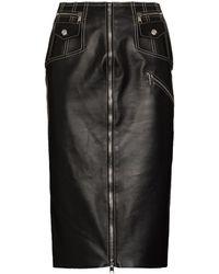 Alexander McQueen レザー ペンシルスカート - ブラック