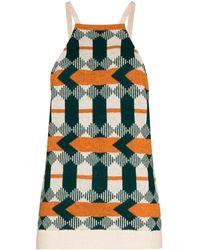 Prada Geometric Pattern Knit Tank Top - Green