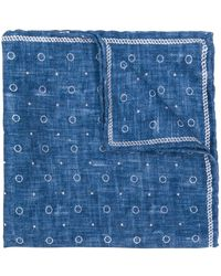 Brunello Cucinelli Dot Pattern Silk Pocket Square - Blue