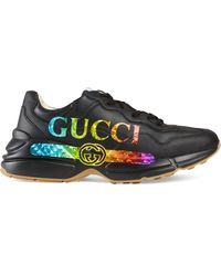 Gucci - グッチ〔ライトン〕 メンズ ロゴ レザー スニーカー - Lyst