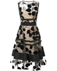 Carolina Herrera - Leaf Embroidery Dress - Lyst