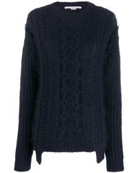 Stella McCartney Frayed Cable Knit Sweater - Blue